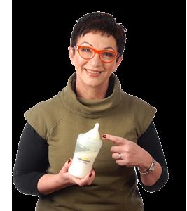 Mandy Haberman holding the Haberman Suckle Feeder