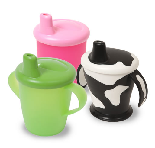 Anyway cups, green classic cup, pink classic beaker and cow cup